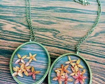 Pressed Genuine Jungle Flame Flowers, Preserved within Resin, Large Oval Bronze Pendant Necklace, Preserved Nature