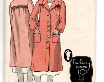 "1930's DuBarry Coat, Smock or House Coat Pattern - Bust 30"" - No. 761B"