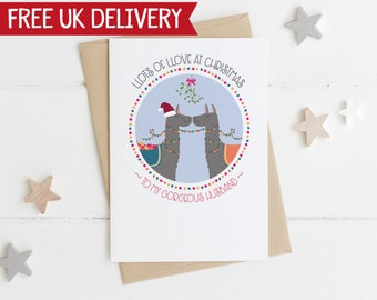 Llama Love Husband Christmas Card - husband xmas card - llama xmas card - xmas card for husband - llama llove xmas card - from wife