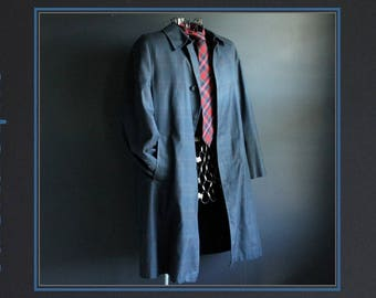 Vintage Trench Coat by Koratron Blue and Black Tartan Plaid Men's 1960's Overcoat with Zip Out Lining Fall Winter Spring Washable Outerwear