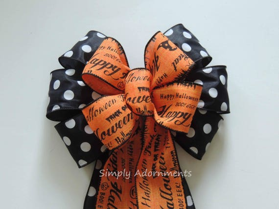 Rustic Black Orange Happy Halloween Bow Halloween Scripts Bow Orange Black Halloween Swag Bow Orange Black Wired Ribbon Bow monogram Door Bo