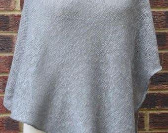 Linen Poncho Grey , Linen Poncho Cape - Gray Linen Poncho - Linen Knitted Tunic - Plus Size Linen - Natural Linen Wrap  - Linen Knitt Wrap
