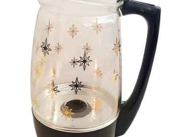 Vintage Atomic Starbursts Percolator / Gold Atomic Stars on Clear Glass / Electric Coffee Pot / Proctor-Silex