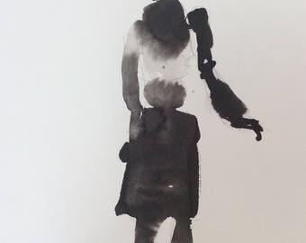 Original art ink brush drawing painting Shadow Figure