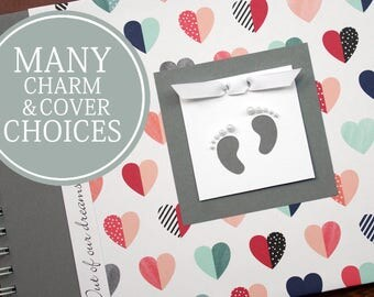Gender Neutral Pregnancy Journal | Pregnancy Gift | Personalized Pregnancy Scrapbook | Multi Hearts with Baby Footprints Charm
