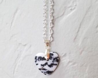 "Natural Crystal Zebra Jasper Heart ""Power Pendant"" Gemstone Necklace"