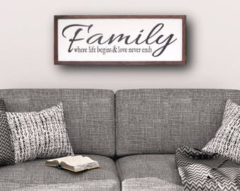 Family Sign, Wood Signs, Family Where Life Begins And Love Never Ends, Framed Sign, Rustic Sign, Rustic Decor, Housewarming Gift