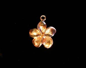 SALE Plumeria Flower Charms 1 pc Rose Gold Vermeil Charm 17mm  CH210R