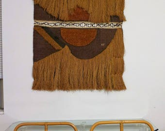 Large Woven Tapestry Wall Hanging Vintage Signed DL Sun Fiber Art Mid Century Modern Boho Tribal Textile Weaving Natural Brown Jute Fringe