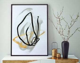 Black and White Art Black and White Painting Original Abstract Painting Minimalist Art Gold Painting Gold Art Black Abstract Art Modern Art