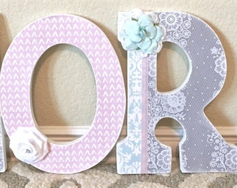 Custom Nursery Letters, Pink and Gray Nursery Decor, Baby shower gift- Wooden Hanging Letters -Wall Letters- The Rugged Pearl