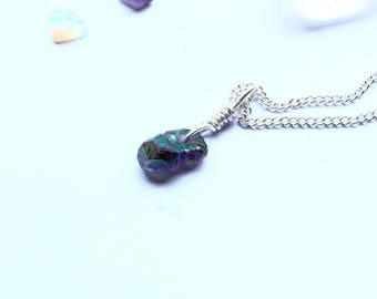 Amethyst Pendant Necklace Gemstone In Purple and Green