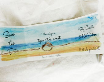 Beach wedding save the date cards set of 25, destination wedding announcements, We eloped announcements, tying the knot save the date cards