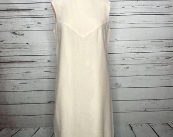 Ladies vintage 60's cream color casual pencil dress
