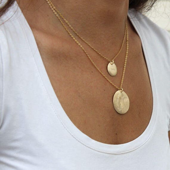 Choker Necklace Etsy: Two Disc Necklace Hammered Gold Disc Necklace Bridesmaides