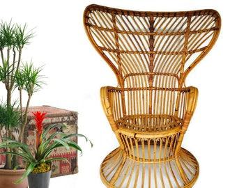 Mid Century Peacock Chair Rattan Chair Bentwood Bamboo Chair Franco Albini Bamboo Bohemian Decor Italian Arm Chair Bamboo  Sculpted Tall