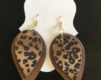 Brown Faux Leather with Leopard Print