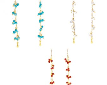 Gemstone cluster earrings in turquoise, iolite and coral