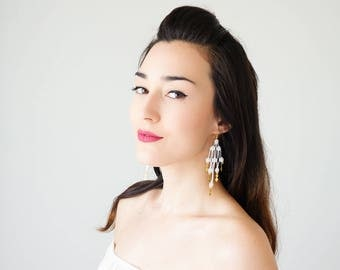 30% Inspiration Statement Earrings Statement Jewelry Dangle Earrings White Earrings Bridal Earrings Bridal Jewelry  / LENA