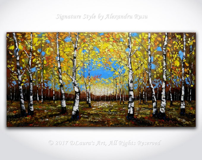 Featured listing image: Birch Forest Oil Painting ORIGINAL Modern Contemporary Birch Trees in Fall Palette Knife Texture Landscape Gallery Art 40x20 by Alex Rusu