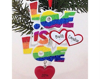 FREE SHIPPING Love is Love /Pride Rainbow / Gay Couple Christmas Ornament / First Christmas Ornament / Personalized Christmas Ornament