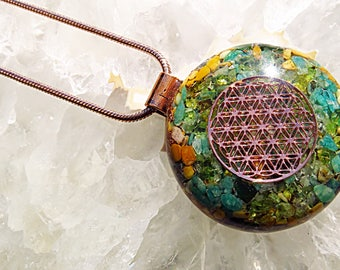 Powerful Orgone Pendant -  Peridot/Amazonite/Yellow Jasper/Green Aventurine - FREE WORLDWIDE SHIPPING!
