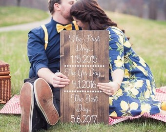 Love Story Special Dates Sign in Walnut Stained Wood 12x23 (The Best Day)