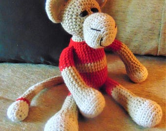 "Crocheted monkey stuffed animal doll toy ""Mo"""