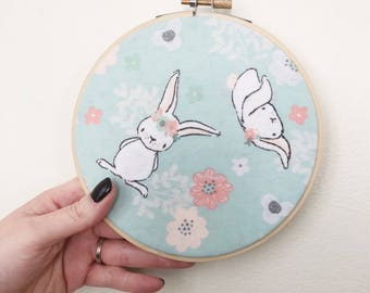 Embroidery Hoop Art/Woodland Wall Art/Nursery Decor/Baby Shower Gift/Baby Room Art/Woodland Animals/Nursery Wall Art/Bunnies/Bunny Wall Art