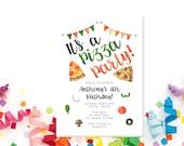 Pizza Party Invitation, Pizza Birthday Party, Pizza Party, Birthday Invitation, Pizza Invitation, Pizza Birthday, Printed or Digital