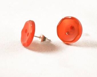 Button Earrings - Vintage Earrings - Button Jewelry - Sewing Gifts - Buttons, Red Earrings - Vintage Jewelry - Stud Earrings - Bold Earrings