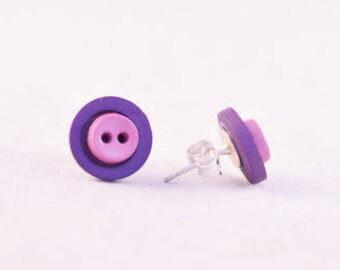 Purple Earrings - Button Earrings - Bold Earrings - Layered Earrings - Button Jewelry - Sewing Gifts - Stud Earrings - Quirky Earrings
