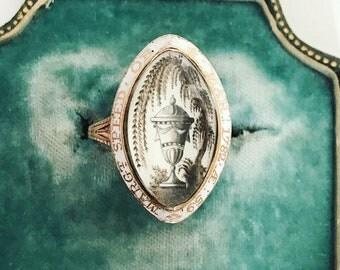 Georgian White Enamel Mourning Ring