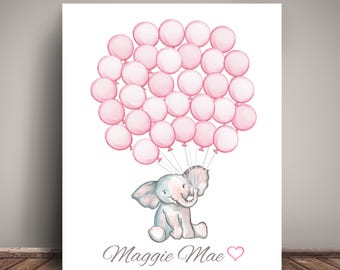Watercolor Elephant Baby Shower Guest Book Alternative - Guests sign a balloon!