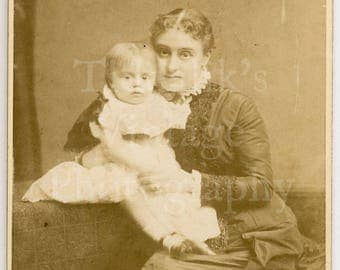 CDV Carte de Visite Photo Victorian Woman Holding Cute Baby Mother and Child by W S Bradshaw of London E.C. England - Antique Photo