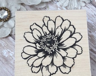 Large Zinnia Wood Mounted Rubber Stamp Scrapbooking & Paper Craft Supplies