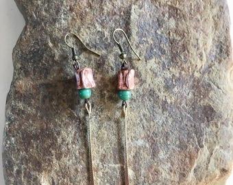 Rustic copper earrings, copper jewelry,Glass Earrings ,Bohemian Earrings ,Copper Earrings ,Boho Earrings, Copper Jewelry