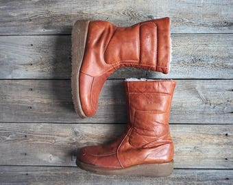 Vintage LL Bean Boots with Shearling Lining - Tan Sienna Brown - Gum Rubber Wedge Sole -  Made in Canada - Women's Size 9