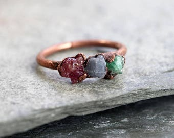 Raw Emerald Ring Electroformed Ring Sapphire Ring Ruby Ring Copper Ring Multi Stone Ring Natural Stone