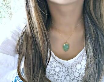 prehnite necklace prehnite pendant necklace arrow shaped green pendant prehnite jewelry 14k gold filled green gemstone necklace boho gift