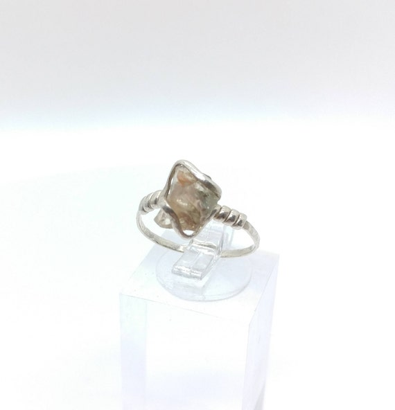 Raw Crystal Ring | Raw Oregon Sunstone Ring | Sterling Silver Ring Sz 6.75 | Green Oregon Sunstone Ring | Sunstone Jewelry