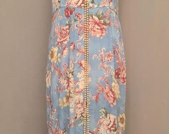 VTG 80s 90s Floral Damask Rayon Gauze Midi Dress Boho GRUNGE Slouchy M/L