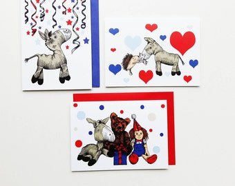Pack of three child friendly greetings cards