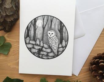 Full Moon Owl Greetings Card - Original Ink Illustration - Owl Card - Barn Owl Card - Nature Card - Moon Card - Wildlife Card - Blank Card
