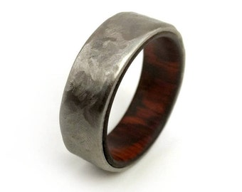Snakewood Ring, Rare Wood Ring, Exotic Wood Ring, Titanium Ring, Unique Style, Modern Design, Waterproof Ring, Handmade Jewelry, Ring Band