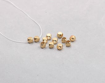 50Pcs, 5mm Raw Brass Cube Beads , Hole Size 3.5mm , GY-X885
