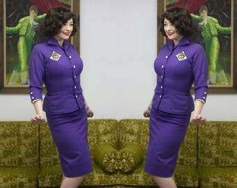 1950s Purple Suit | Purple Suit | Wool Suit | 50s Suit | 1950s Suit | Mrs Maisel | Fitted Suit | Purple Wool | Leather Suit | New Look | 23""
