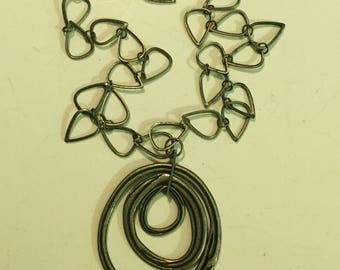 Funky Open Link  Metal Triple Circle pendant necklace