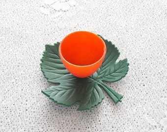 Vintage Collectible Plastic Egg Cup with Green Leaf