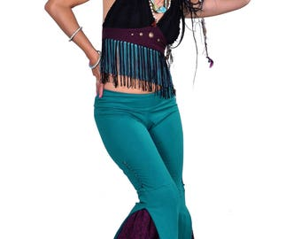 STEAMPUNK FLARED TROUSERS, long tall festival pants, Burning Man Coachella clothes, teal boho bootcut panel flares, extra long leg trouser